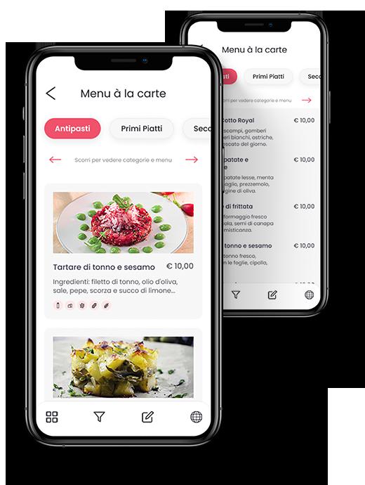 Esempio di Menu digitale Menuadesso con vista da smartphone